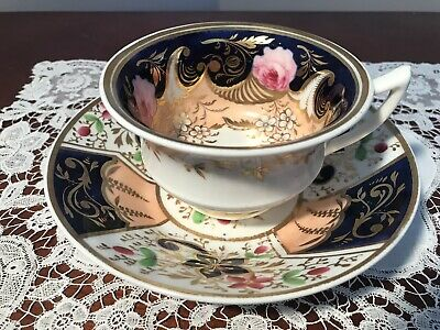 Antique Staffordshire Hand Painted Etruscan Shape Cup And Saucer