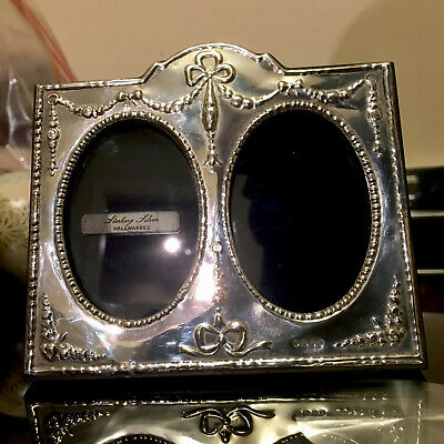 English Hallmarked Solid Sterling Silver Twin Photo Frame Antique Bows Style 958