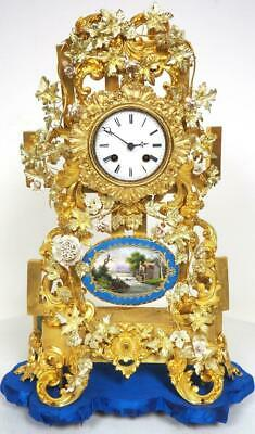 Antique French Bell Striking Mantel Clock Gilt Porcelain & Sevres Mantel Clock