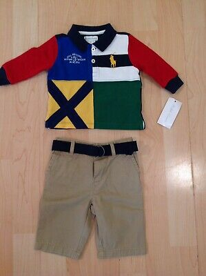 Ralph Lauren Boy's Big Pony Rugby Shirt & Khaki Trouser Outfit For 3 Months BNWT