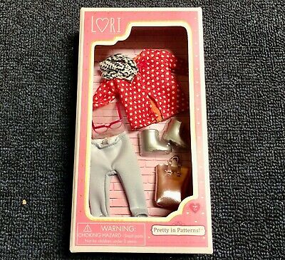 "Lori 6"" Doll Clothes Pretty In Patterns w Purse Boots Glasses Scarf & Outfit Set"