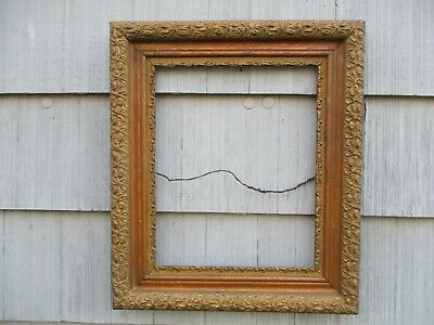 Large Antique Victorian Aesthetic Gesso & Oak Wood Picture Frame fits 20x16