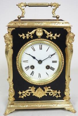 Antique French 8 Day Bell Striking Mantel Clock Ebonised Ormolu Cube Clock C1880