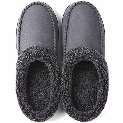 ULTRAIDEAS Men's Cozy Memory Foam Moccasin Suede Slippers with Fuzzy Plush Wool-
