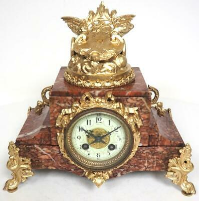 Antique French Marble Mantel Clock 8 Day Bell Striking Clock Chariot To The Top