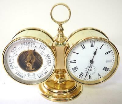 Fine Antique French 8 Day Carriage Clock Barometer & Clock Combination Set C1890