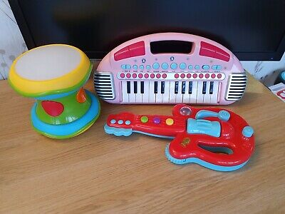 Elc Musical Lights Sounds Instruments Bundle Drum pink Keyboard Guitar
