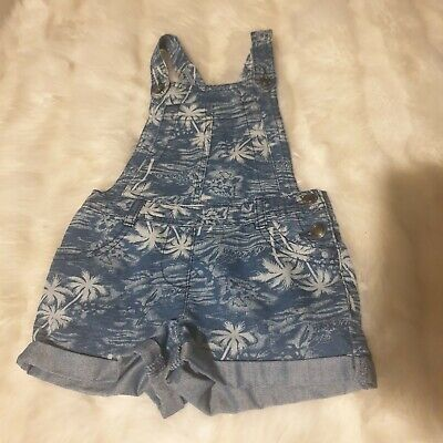 girls 3-4-5 years denim dungarees shorts jumpsuit playsuit romper palms next day