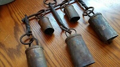 Primitive Antique Hand Forged Wrought Hanging Bells Farm Cow Oxen Wagon