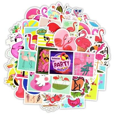 50 Fun Kids Cartoon Flamingo Stickers Decal Childrens Bedroom Wall Pink Sticker