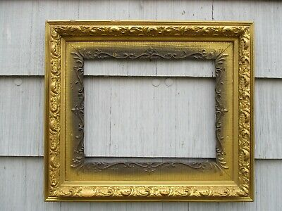 Large Antique Victorian Aesthetic Gold Gesso & Wood Picture Frame fits 20x16