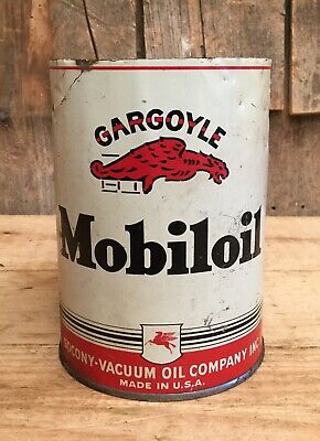 Vintage SOCONY VACCUM MOBIL Motor Oil 1 Qt Tin Can With Iconic GARGOYLE Graphic