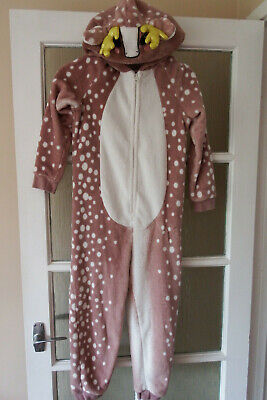 GIRLS REINDEER HOODED ONE PIECE AGE 8-9 yrs BY GEORGE - IN V GOOD CONDITION