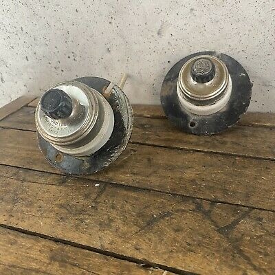 2 Vintage Industrial Perkins Porcelain Rotary Turn Light Switches B1