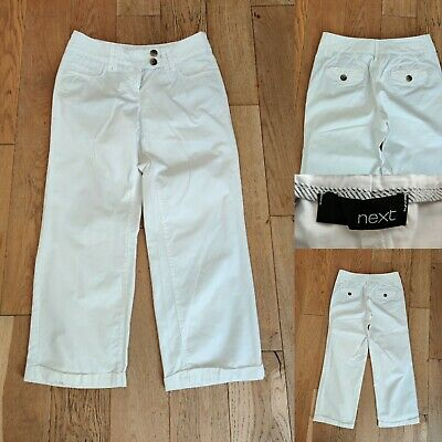 Ladies NEXT Crop Trousers Size 10 White  Capri Pants Wide Leg Immaculate