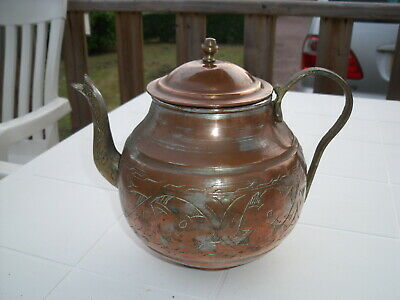 Antique French Copper Engraved Kettle with Brass Handle