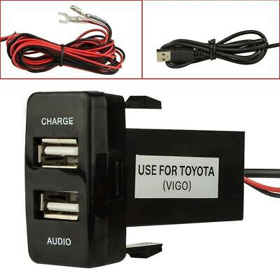 2USB Twin Dual Double Port 12V 24V Car Socket Lighter Charger Adapter for Toyota