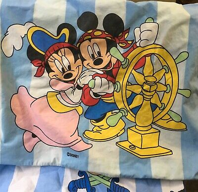 Vintage Disney Mickey Mouse Pirate Fitted Twin Bed  Sheet Pillow Minnie Mouse