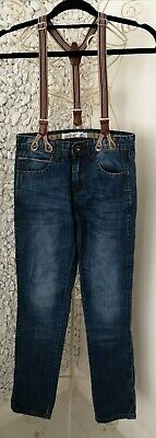 DENIM CO. boys age 10-11 years suspenders denim trousers/jeans hardly worn !!
