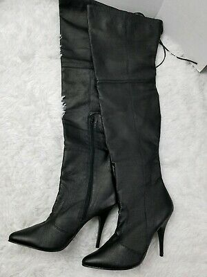 Pleaser LEGEND-8899 Single Soles Black Faux Leather Rear Lacing Thigh High Boots