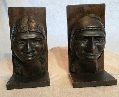 VTG Amazing Pair of Native American Braves Hand Carved Mahogany Wood Book Ends