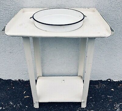Antique Vintage French Wrought Iron Wash stand w Basin Plant Stand Industrial