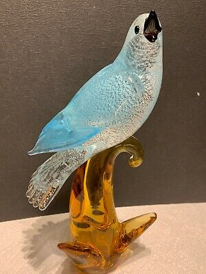 Large Beautiful Murano Art Glass Blue Dove Bird On Branch With Silver Flecks Vtg
