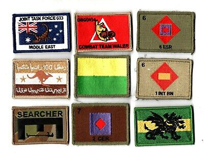 a lot of 9 mixed Australian Army Unit Patches                   . Lot 15