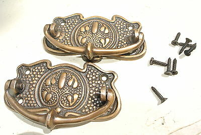 2 DECO cabinet handles solid brass furniture vintage age old look style 95 mm
