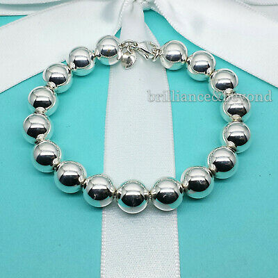 Tiffany & Co. Bead Ball 10mm Chain Bracelet 925 Sterling Silver Authentic