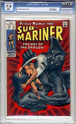 Sub-Mariner #15 - HALO Graded (7.5 VF-) 'Day Of The Dragon' 1969 - Silver Age