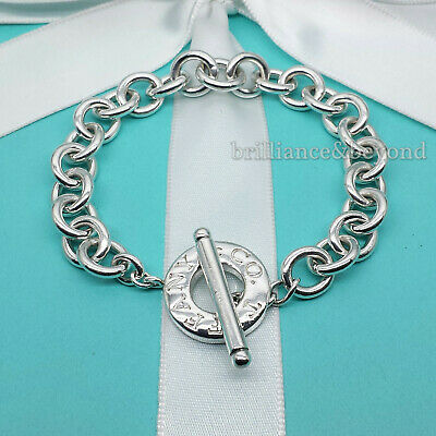 Tiffany & Co. Toggle Clasp Bracelet Round Circle 925 Sterling Silver Authentic