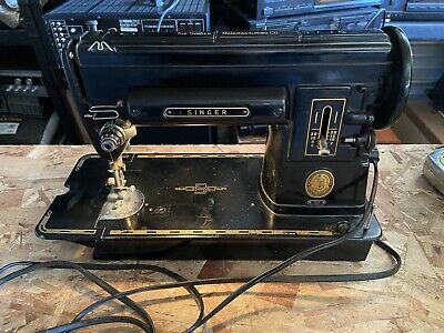 Vintage Singer 301 Black Sewing Machine w/ Pedal **FAST SHIPPING**