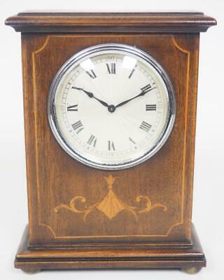Superb French 8 Day Mantel Clock Solid Mahogany Wood Art Deco Top Mantle Clock