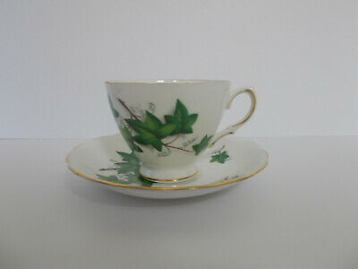 Vintage Crown Royal Green Ivy Leaf Bone China Tea Cup and Saucer