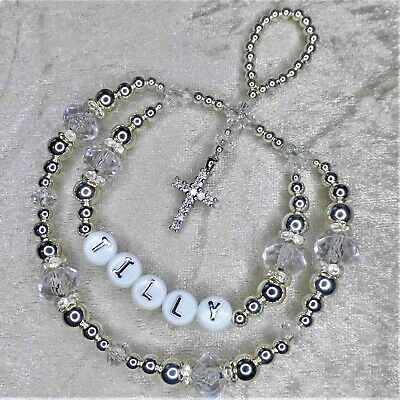 Silver Rhinestone Diamante Cross Personalised Crystal Bling Baby Keepsake Gift