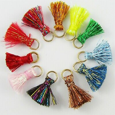 10pce TINY Metallic Thread Tassel with Jumpring 15mm Select Colour