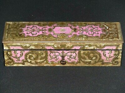 RARE Antique 19th Century Boulle French Pink / Brass Inlaid Table Box / Casket
