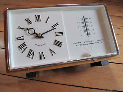 Vintage  70s  Wooden  Case  Russian Maяк  Thermometer & Barometer Desk Clock.