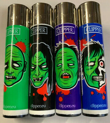 4 x Clipper Lighters Horror Zombies Gas Lighter RARE Refillable SET NEW **