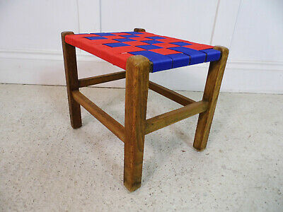 Vintage Retro Oak Stool Red & Blue Webbing seat restored 1960s unique design