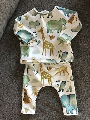 Next Outfit top & leggings set 3-6 Months Jungle animal Boys Girls Unisex