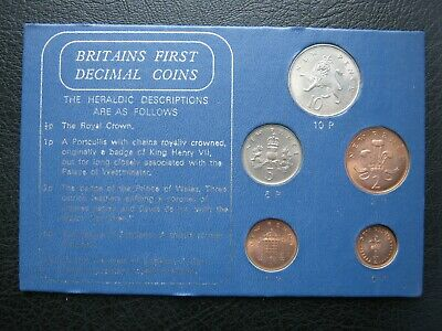 Great Britain 1968 & 1971 First Decimal 5 Coin Set: ½ Penny ~ 10 New Pence cased