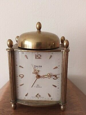 Swiza Mignon Brass Alarm Clock With 7 Jewels Swiss made working order.