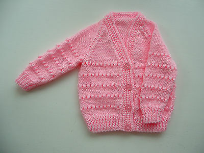 Baby Girl's Cardigan, Hand Knitted, Pale Pink, 3-6 Months, Long Sleeve New