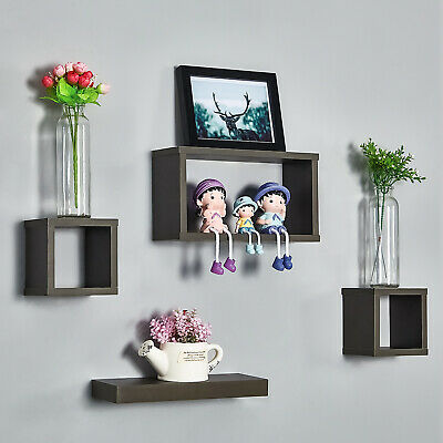 4pcs Floating Wooden Cube Shelves Hanging Shelf Wall Storage Display Deep Grey