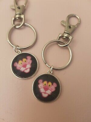 Pink Panther Face Image Film 60s 70s 80s Detective Keyring Bag Charm Gift Tag