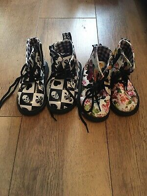 Two Pairs Of Girls Boots Size 6.5 (size 23) Floral Funky Sculls