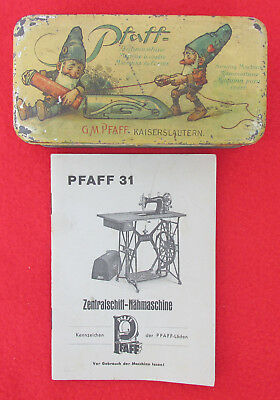 Vintage Pfaff Tin Box Sewing Machine Nahmaschine Gnomes Secession With Booklet!!
