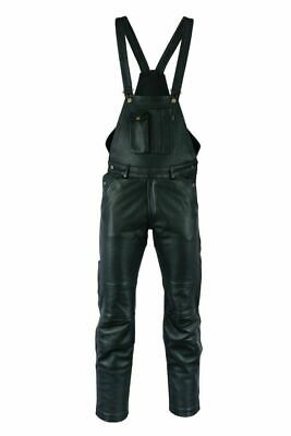 Motorcycle Waxy Cowhide Aniline Leather Bib And Brace Dungaree/Salopettes